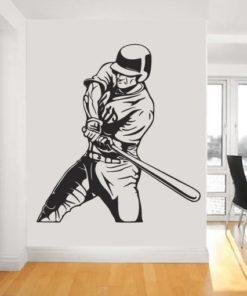 Primer izgleda črne samolepilne stenske nalepke Baseball na beli steni v dnevni sobi.