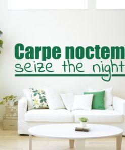 Primer izgleda zelene stenske nalepke Carpe noctem na beli steni nad sedežno v dnevni sobi. Nalepka je napis, ki se glasi: Carpe noctem seize the night.