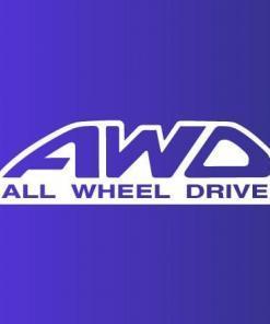 Primer izgleda bele samolepilne avto nalepke AWD na avtu modre barve.
