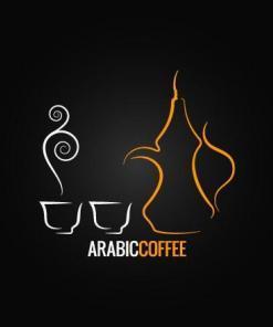 Primer izgleda dvobarvne samolepilne stenske nalepke Arabic coffee na črni steni.