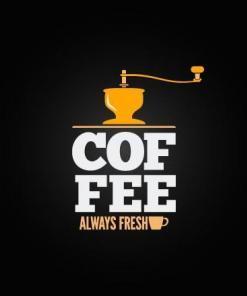 Primer izgleda dvobarvne samolepilne stenske nalepke COFFEE always fresh na črni steni.