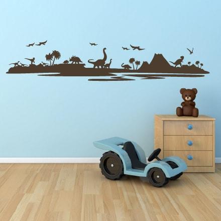 Primer izgleda rjave samolepilne stenske nalepke Čas Dinozavrov na svetlo modri steni v otroški sobi.