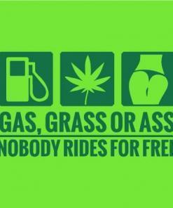 Primer izgleda zelene samolepilne avto nalepke Gas, grass or ass na avtu zelene barve. Nalepka je napis, ki se glasi: Gas, grass or ass, nobody rides for free.