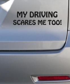 Primer izgleda črne samolepilne avto nalepke My driving scares me too! na avtu srebrne barve. Nalepka je napis, ki se glasi: My driving scares me too!