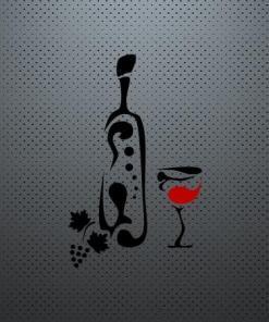 Primer izgleda dvobarvne samolepilne stenske nalepke Vinska steklenica in kozarec na sivi steni v restavraciji.