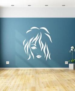 Primer izgleda bele samolepilne stenske nalepke Ženska pričeska 6 na cian steni v sobi.