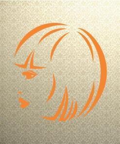 Primer izgleda oranžne samolepilne stenske nalepke Ženska pričeska 7 na tapeti zlate barve.