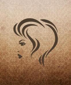 Primer izgleda čokoladno rjave samolepilne stenske nalepke Ženska pričeska 8 na tapeti rjave barve.