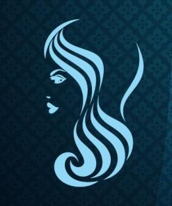 Primer izgleda svetlo modre samolepilne stenske nalepke Ženska pričeska 9 na tapeti modre barve v frizerskem salonu.
