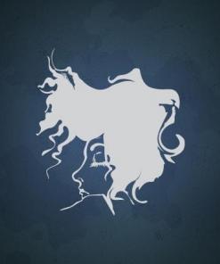 Primer izgleda bele samolepilne stenske nalepke Ženska z odštekano frizuro na steni modre barve v frizerskem salonu.