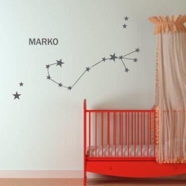 Primer otroške stenske nalepke horoskop škorpijon z imenom Marko.