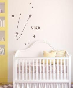 Primer otroške nalepke horoskop bik z imenom Nika.
