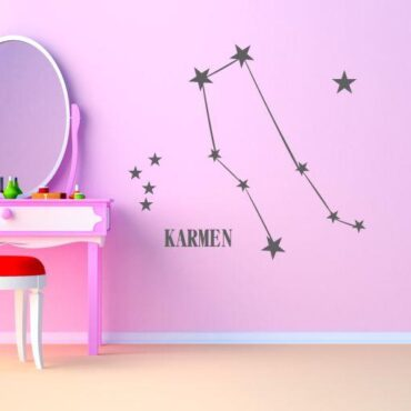 Primer sive stenske nalepke horoskop dvojček na roza steni