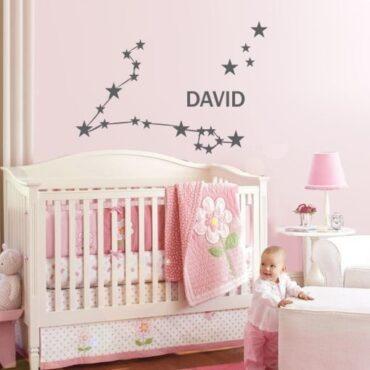 Primer otroške stenske nalepke horoskop riba z imenom David.
