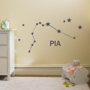 Primer otroške stenske nalepke horoskop vodnar z imenom Pia.