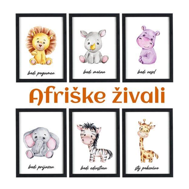 Afriške živali - motivacijski otroški plakati za otroško sobo