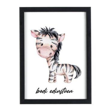 Afriške živali Zebra bodi edinstven - motivacijski otroški plakati za otroško sobo
