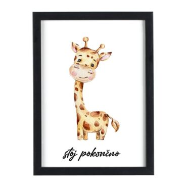 Afriške živali Žirafa stoj pokončno - motivacijski otroški plakati za otroško sobo