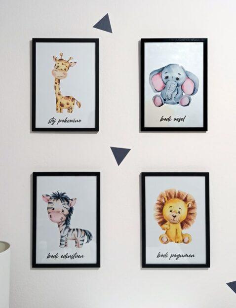 Afriške živali Žirafa Slon Zebra Lev - motivacijski otroški plakati A4 za otroško sobo