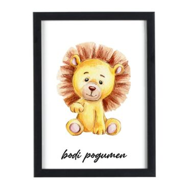 Afriške živali Lev - motivacijski otroški plakati za otroško sobo