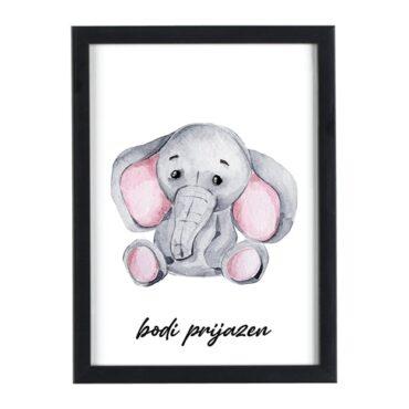 Afriške živali Slon bodi prijazen - motivacijski otroški plakati za otroško sobo